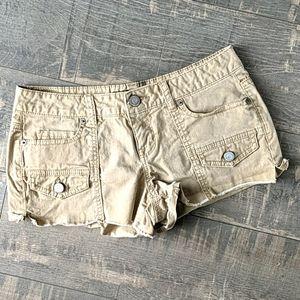 Aeropostale Khaki Shorty Cargo Shorts H2